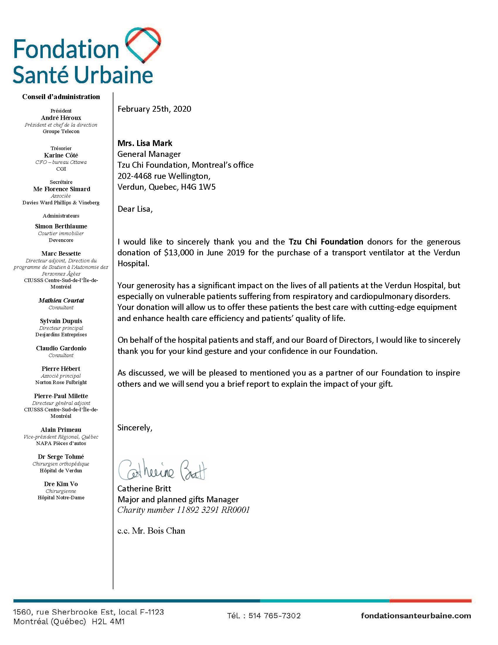 Fondation Santé Urbaine_thank you letter_feb.2020